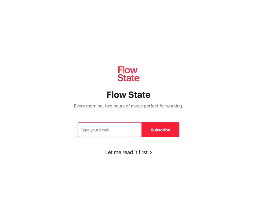 Flow State Sign Up Screenshot